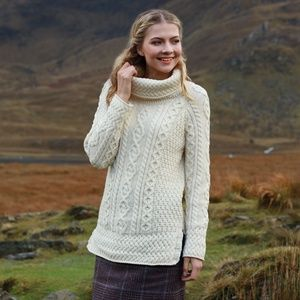 New Irish Aran Roll Neck Sweater Cream Gray Wool